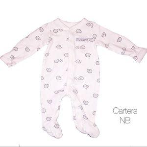 Carters White Hedgehog Footie Pjs Sleeper NB NEW